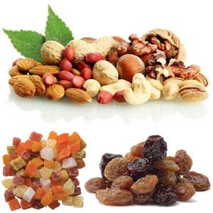 Frutos Secos, Nueces, Avellanas, Almendras, Cacahuetes, Pasas.