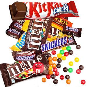 Snakcs de Chocolate, Kitkat, Mars, Snicker, Bounty, M&M, Lacasitos, Smarties, etc.